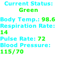 Current Status: Green  Body Temp.: 98.6 Respiration Rate: 14 Pulse Rate: 72 Blood Pressure: 115/70